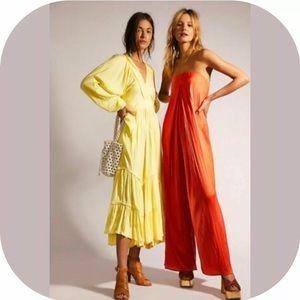 Free People I Need to Know Yellow Maxi Dress Sz XS